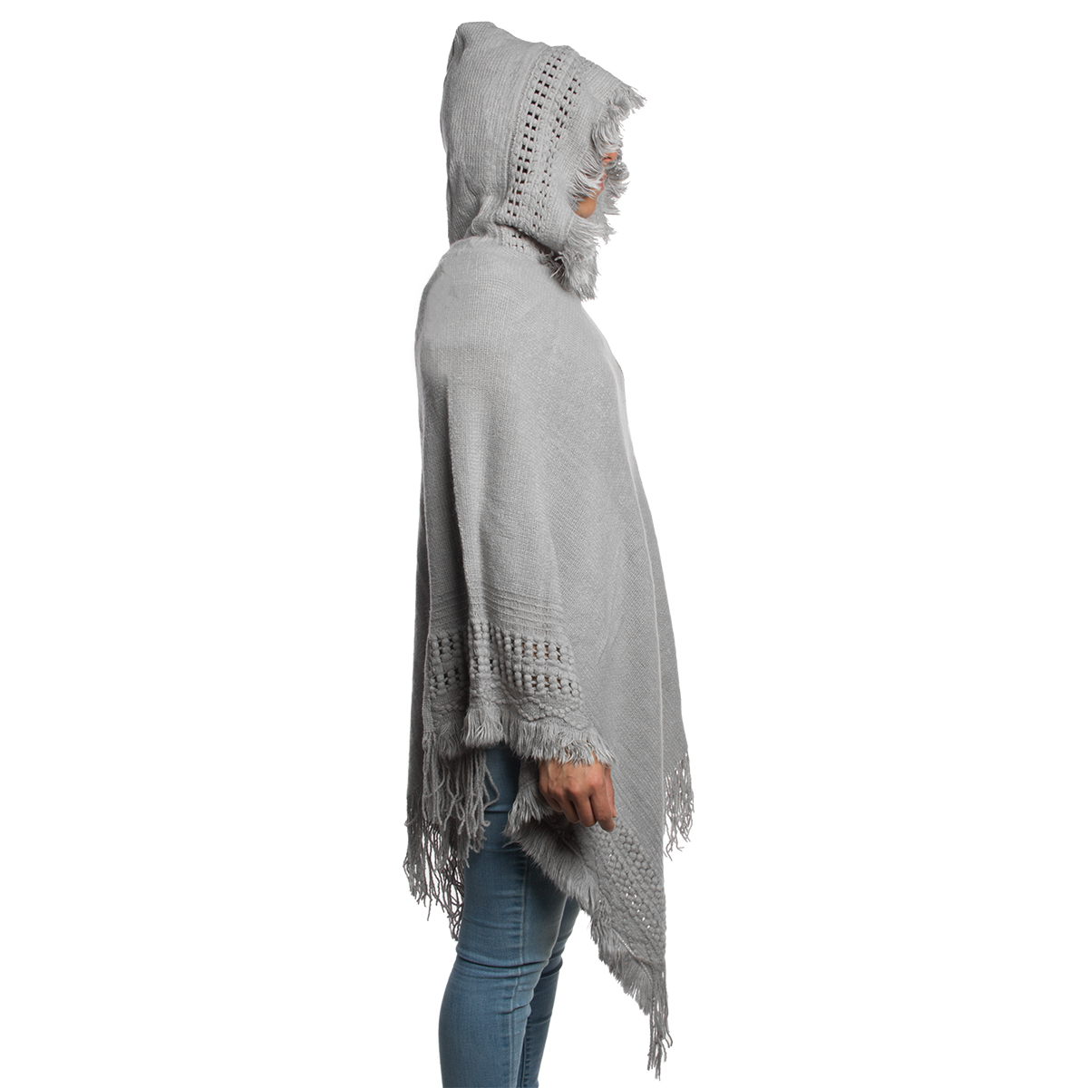 Womens-Knitted-Batwing-Poncho-Pullover-Top-With-Hoodie-Fringe-Ladies-Shawl-Scarf thumbnail 3
