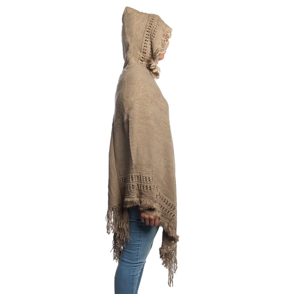 Womens-Knitted-Batwing-Poncho-Pullover-Top-With-Hoodie-Fringe-Ladies-Shawl-Scarf thumbnail 5