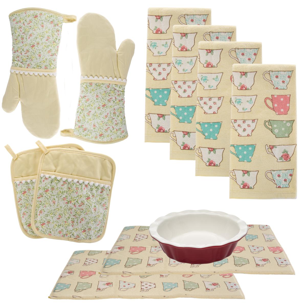 Laura ashley 10pc kitchen set towels oven mitts pot for Kitchen set q line