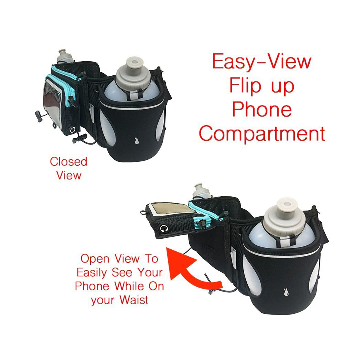 Running-Hydration-Belt-Water-Bottles-Smartphone-Touchscreen-Pockets-Mens-Womens thumbnail 13