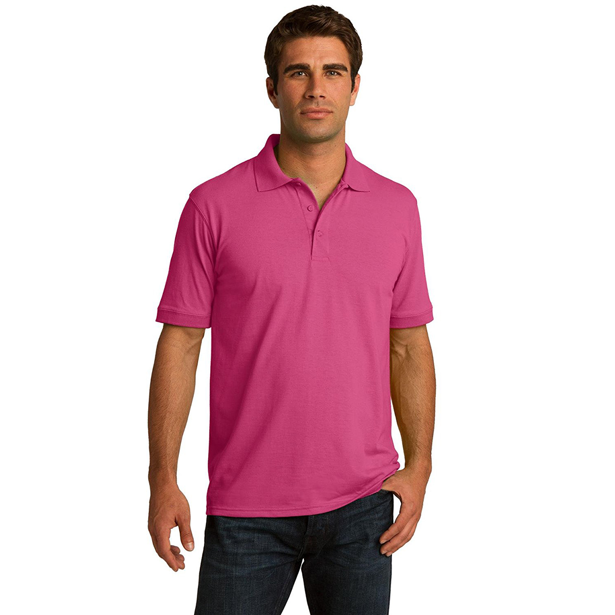 Port & Company Men's Polo T Shirts Short Sleeve Cotton Casual Golf ...