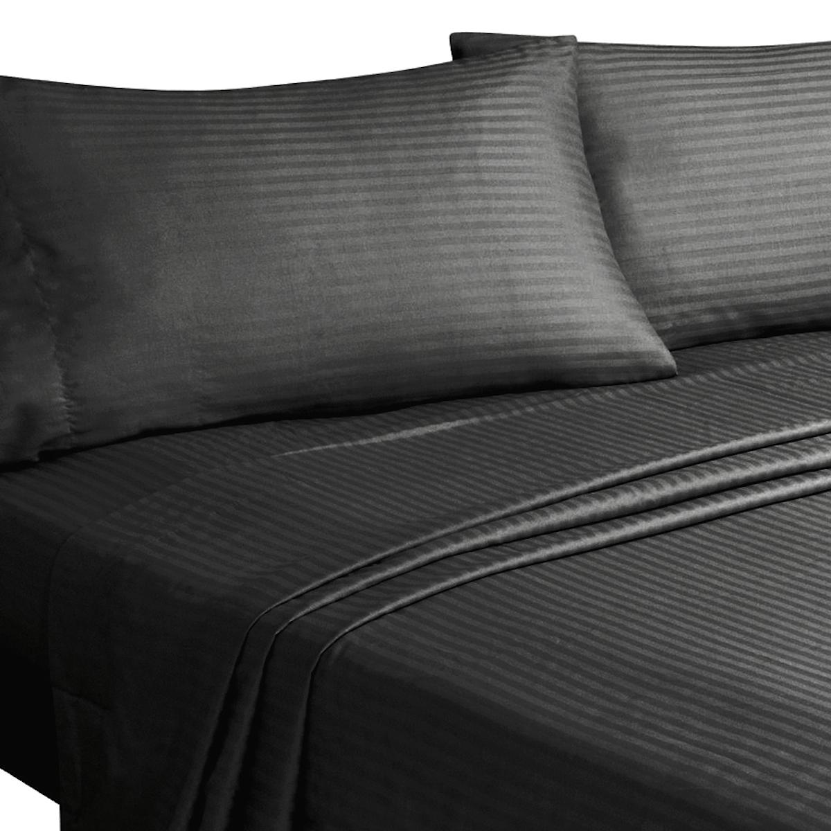 sheet set fitted mattress linens king queen full dobby stripe choose