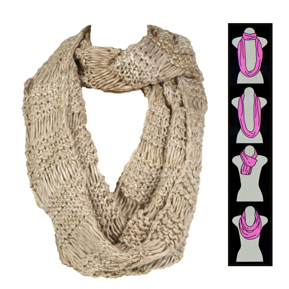 Chunky Marled Knit Infinity Scarf Fashion Style Winter Circle Loop ...