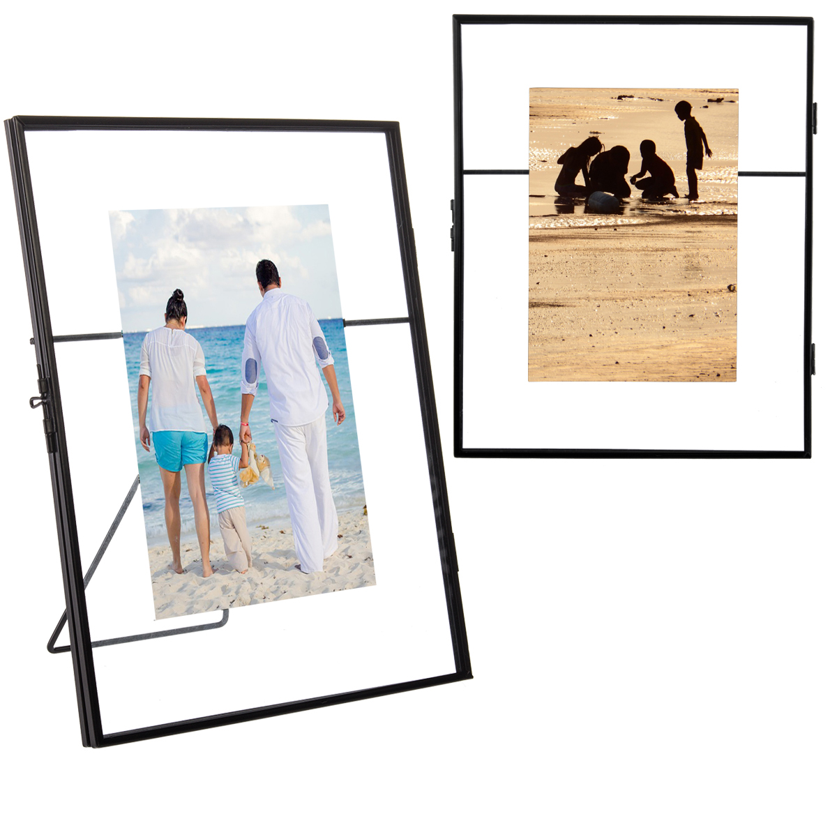 2pk Floating Metallic Picture Frames Free Standing Glass For 5x7 Or ...