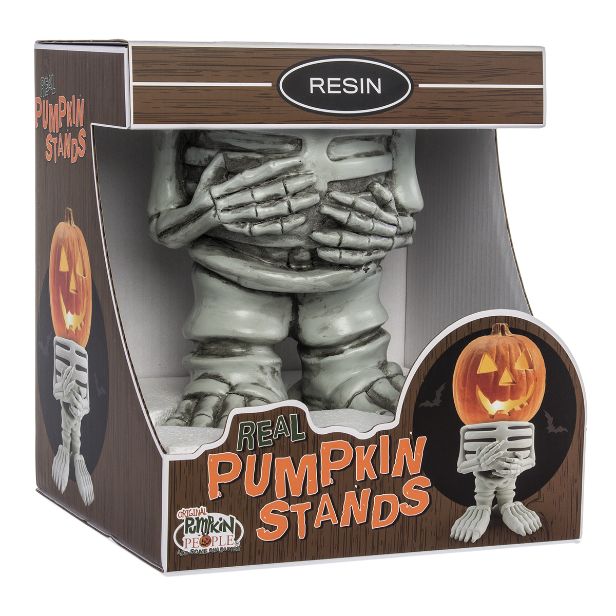 Pumpkin Stand Halloween Display Large Jackolantern Holder Indoor Outdoor Decor (Skeleton)