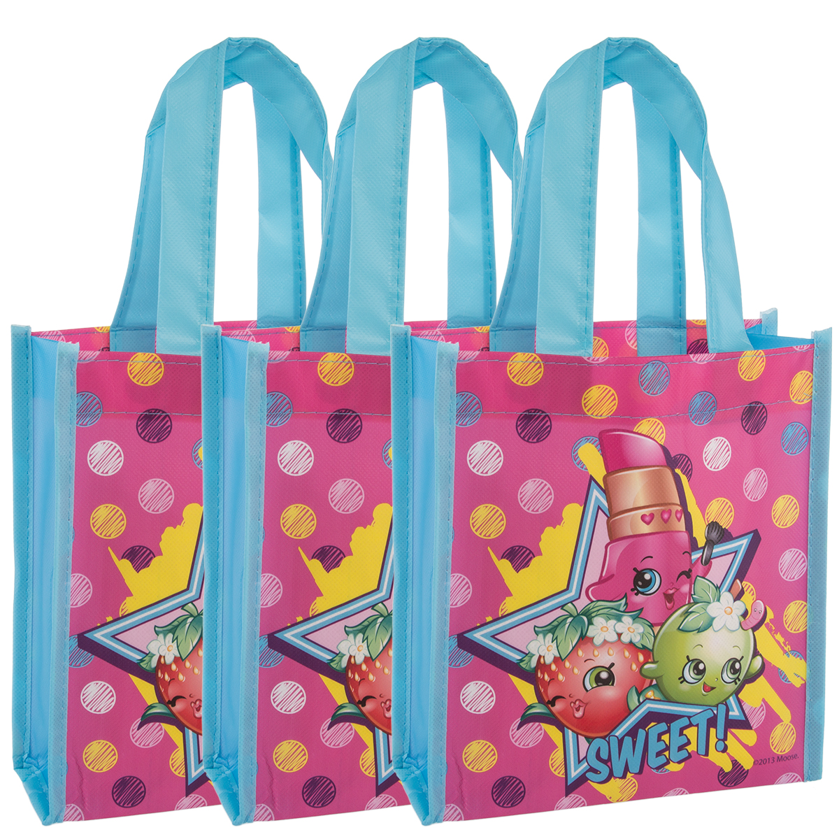 3pk party favor goody treat bags with handles mini kids reusable
