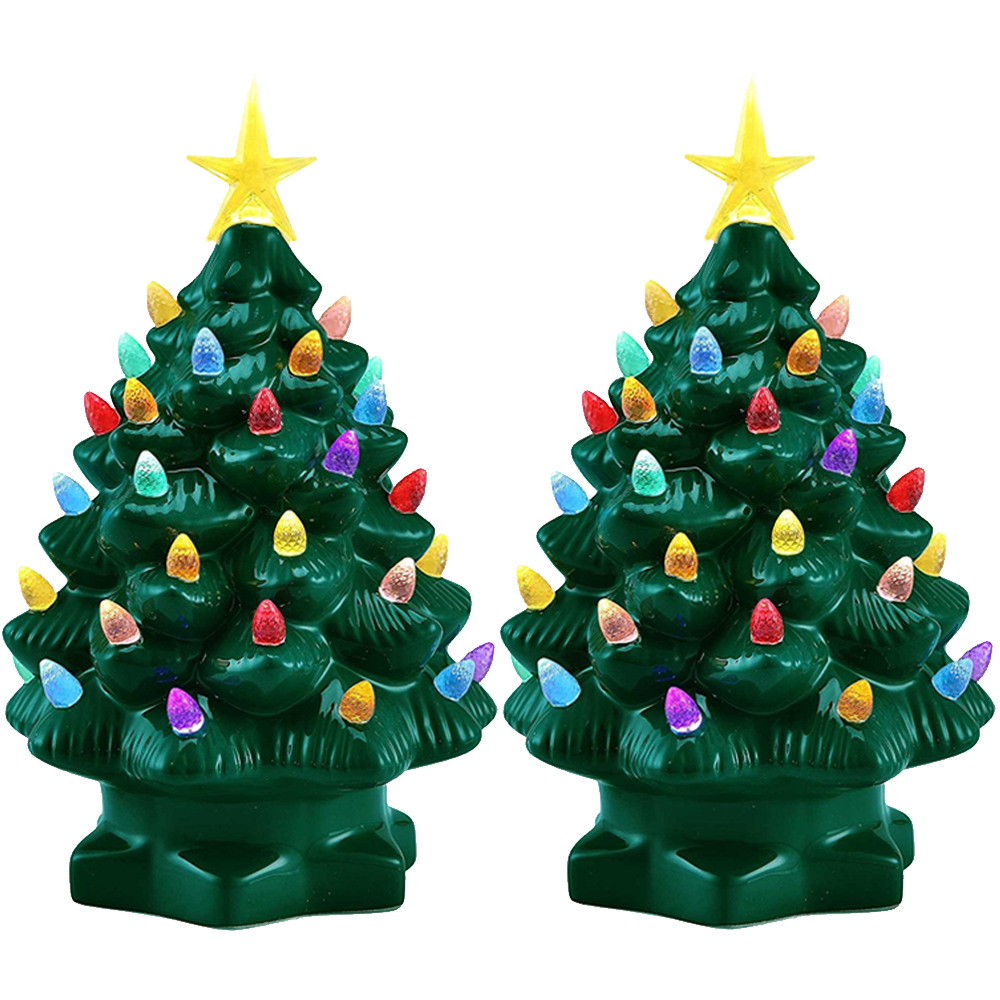 "2pk Mr. Christmas 7"" Porcelain Christmas Tree Decoration Color LED ..."
