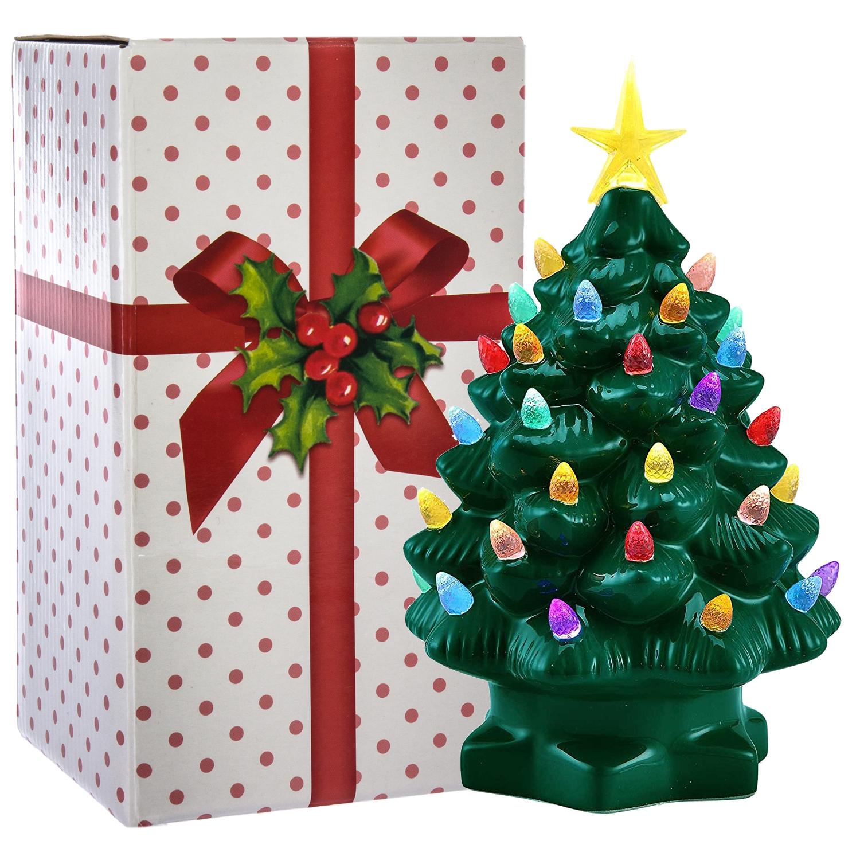 "2pk Mr. Christmas 7"" Porcelain Christmas Tree Decoration Color LED ..."