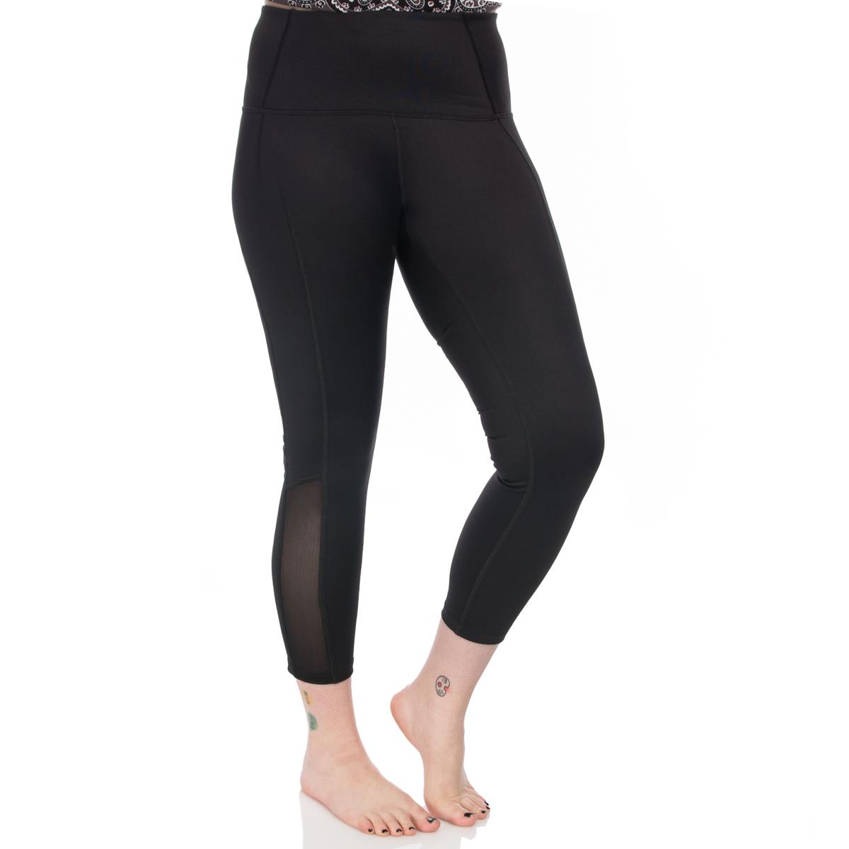 7-8-Length-High-Waist-Moisture-Wicking-UPF-50-Leggings-Run-Gym-Yoga-Pants-Mesh thumbnail 4