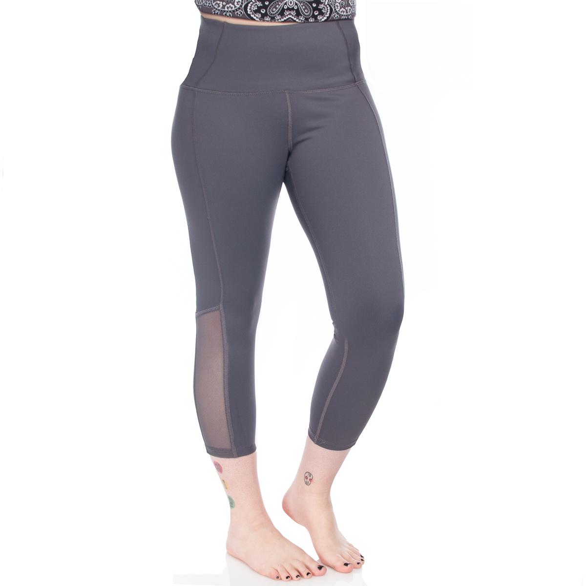 7-8-Length-High-Waist-Moisture-Wicking-UPF-50-Leggings-Run-Gym-Yoga-Pants-Mesh thumbnail 10
