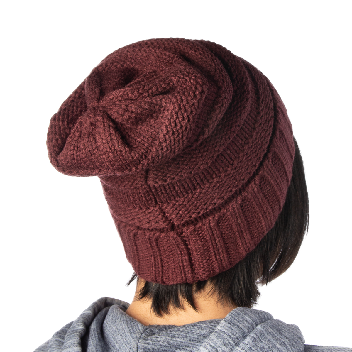 22ffeeb5b52 Womens Slouchy Ribbed Knit Chunky Beanie Winter Hat Warm Cute ...
