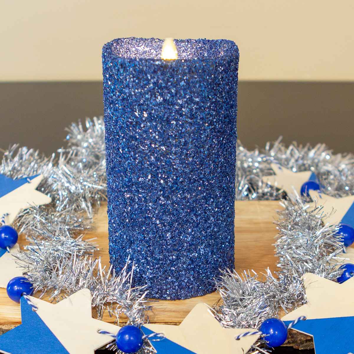 "Luminara 7"" Flameless Candle Pillar Glitter LED Light Real ..."