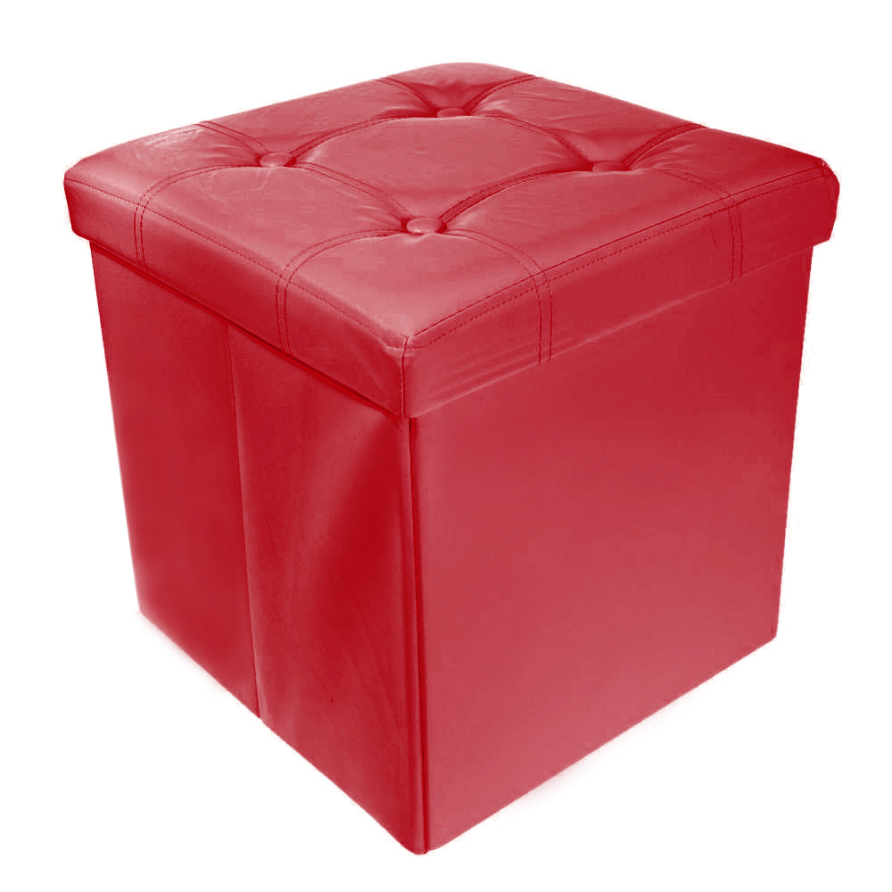 Storage Ottoman Faux Leather Collapsible Foldable Seat
