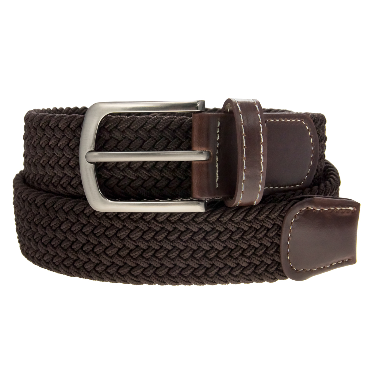 Braided-Belt-Nickel-Finish-Buckle-Faux-Leather-Elastic-Woven-Stretch-Mens-Womens