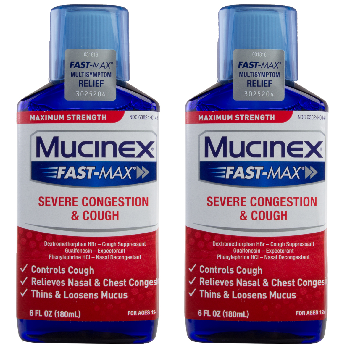 2pk Mucinex Extra Strength Cough Syrup Fast-Max Liquid ...