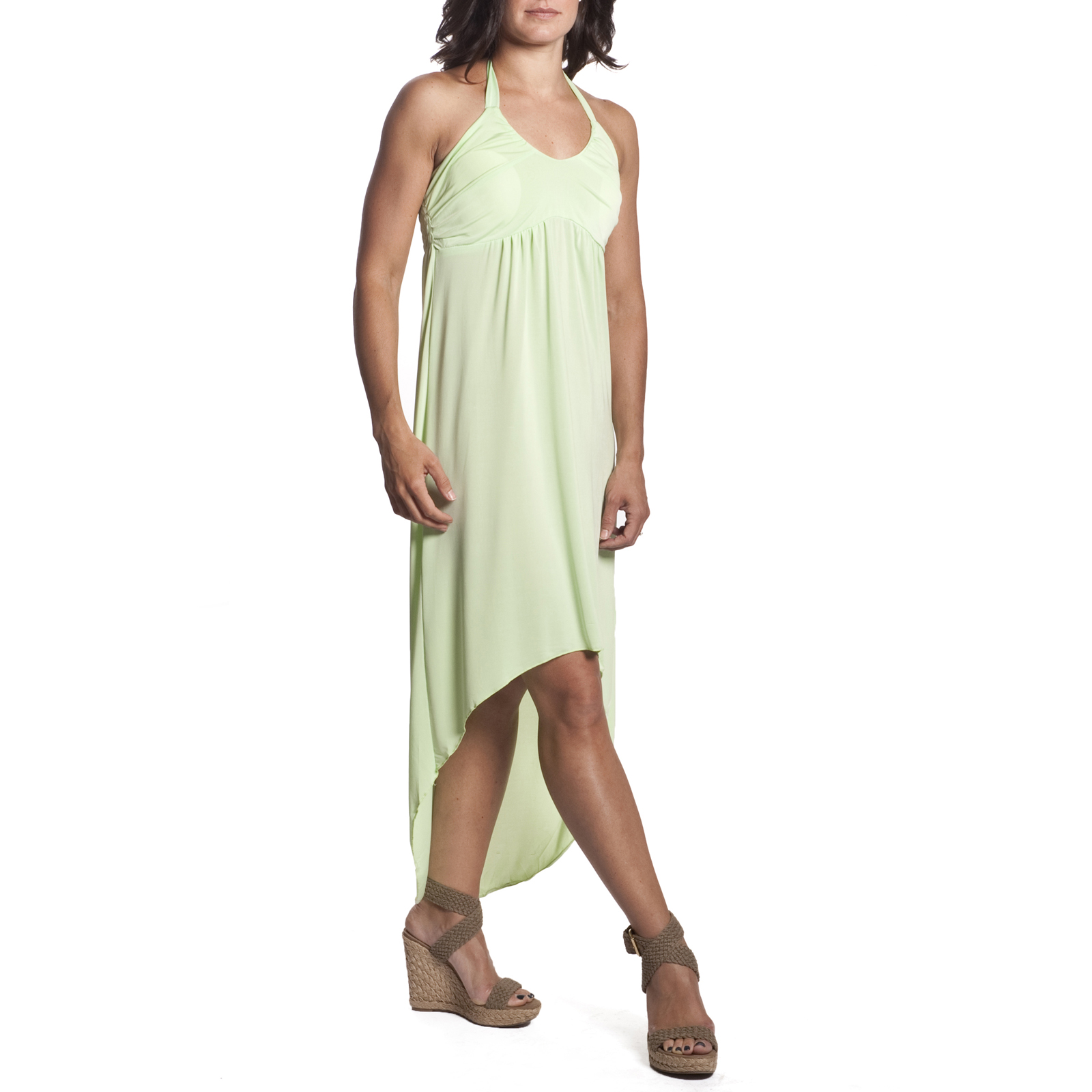 aeb4d19151d6c 3pk Women's Tie-Neck Halter Dress High-Low Hi-Lo Maxi Sundress Beach ...