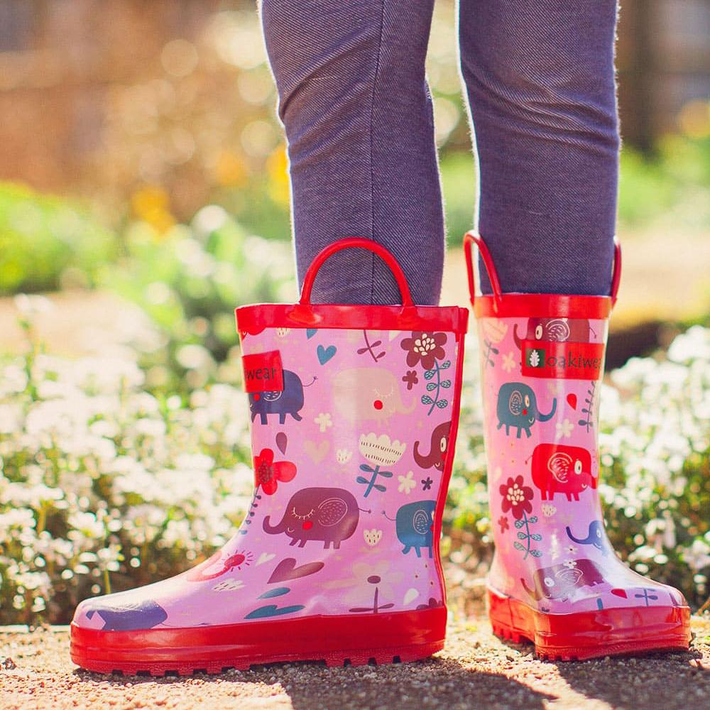 Oakiwear Waterproof Kids Rubber Rain Boots Boy /& Girl Toddler Shoes With Handles