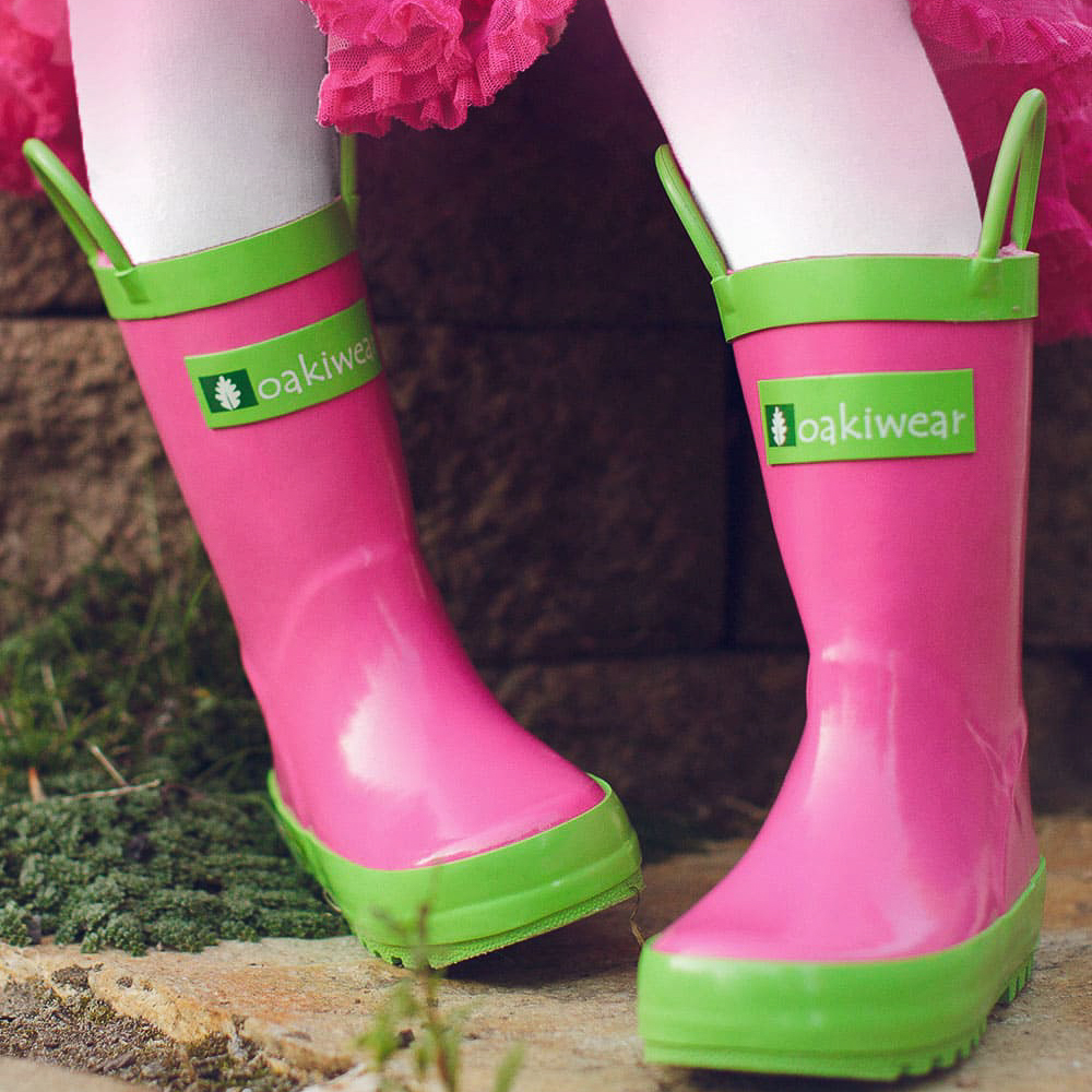 Oakiwear-Waterproof-Kids-Rubber-Rain-Boots-Boy-amp-Girl-Toddler-Shoes-With-Handles thumbnail 24