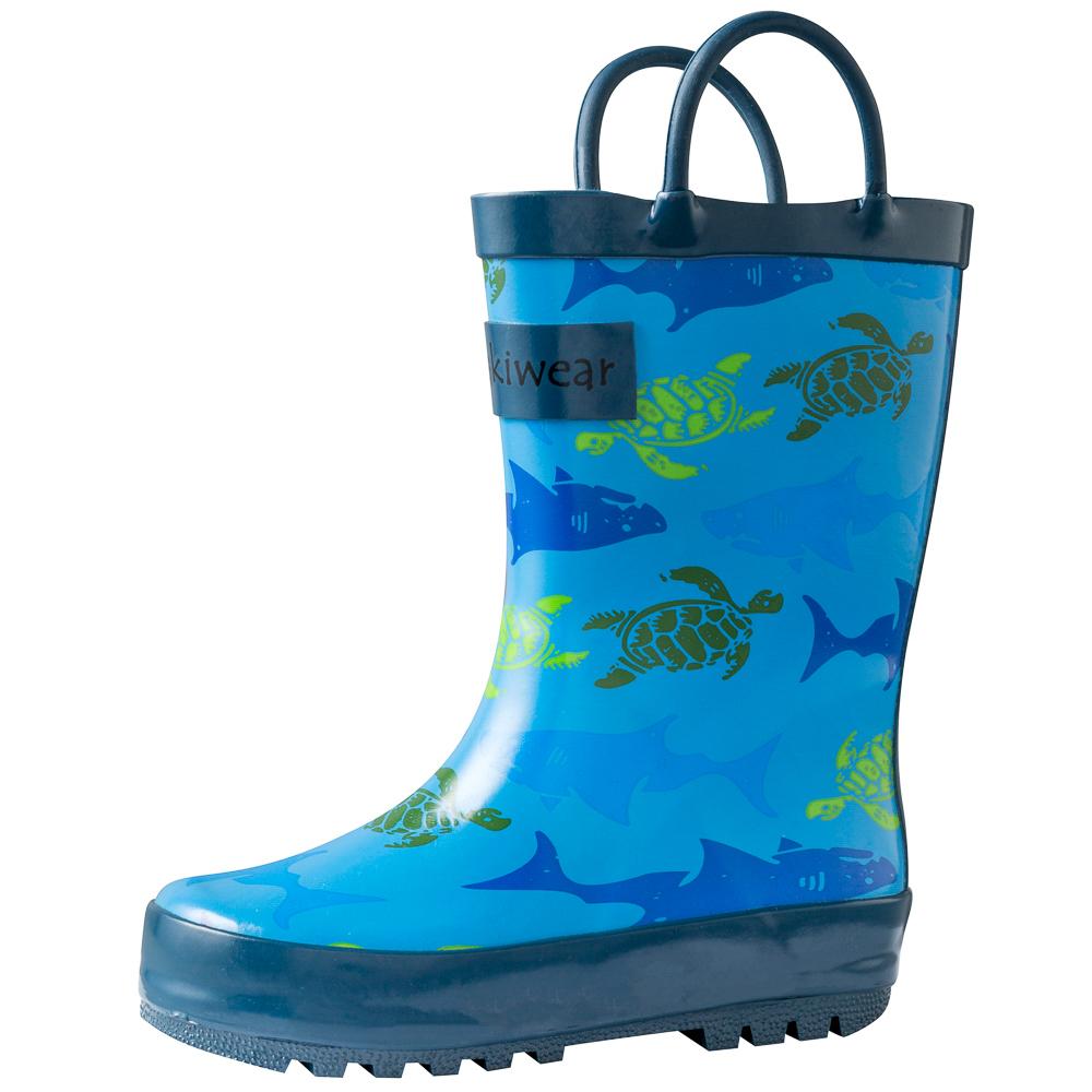 Oakiwear-Waterproof-Kids-Rubber-Rain-Boots-Boy-amp-Girl-Toddler-Shoes-With-Handles thumbnail 18