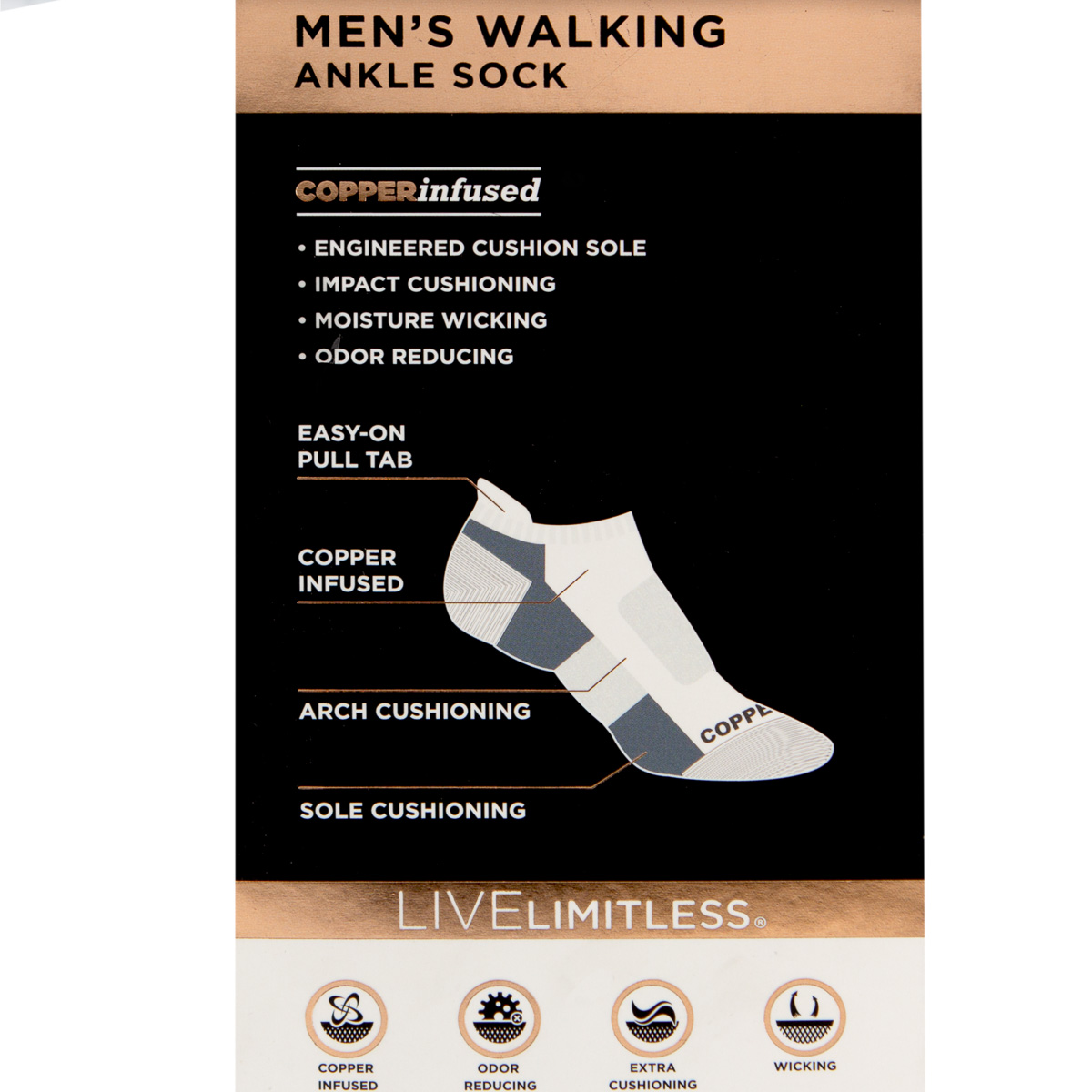thumbnail 9 - 2-Pairs-Copper-Fit-Men-Walking-Ankle-Socks-Moisture-Wicking-Cushion-Compression