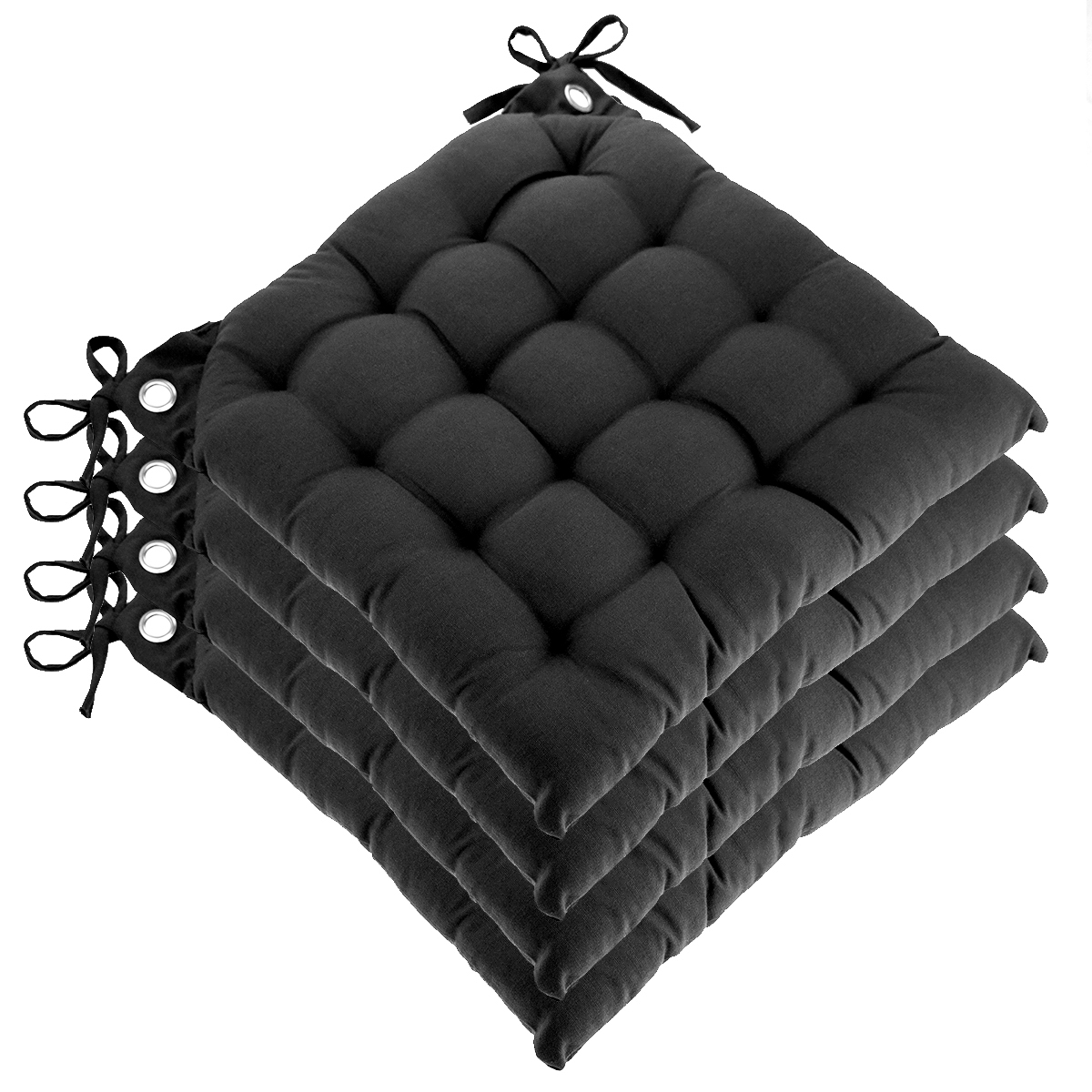Set Of 4 Reversible U Shaped Chair Pads Ties Tufted Cotton