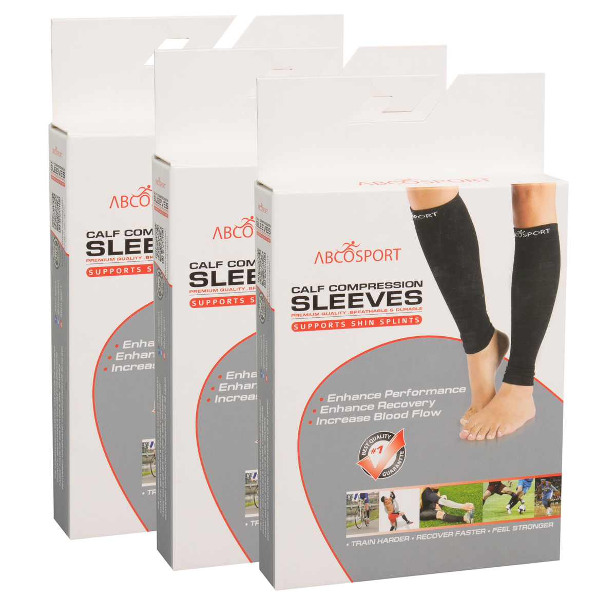 3pk-Calves-Graduated-Compression-Sleeves-For-Leg-Shin-Splints-Basketball-Running thumbnail 9