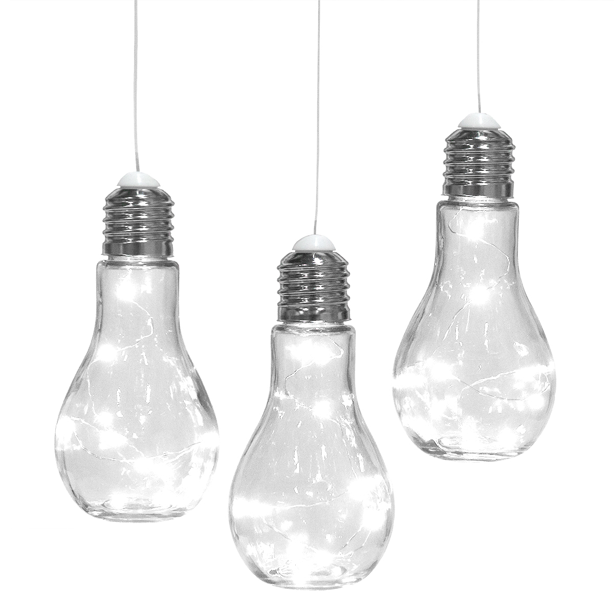 3 Hanging Bulb Shaped Glass Lanterns Outdoor Pendant Lamps