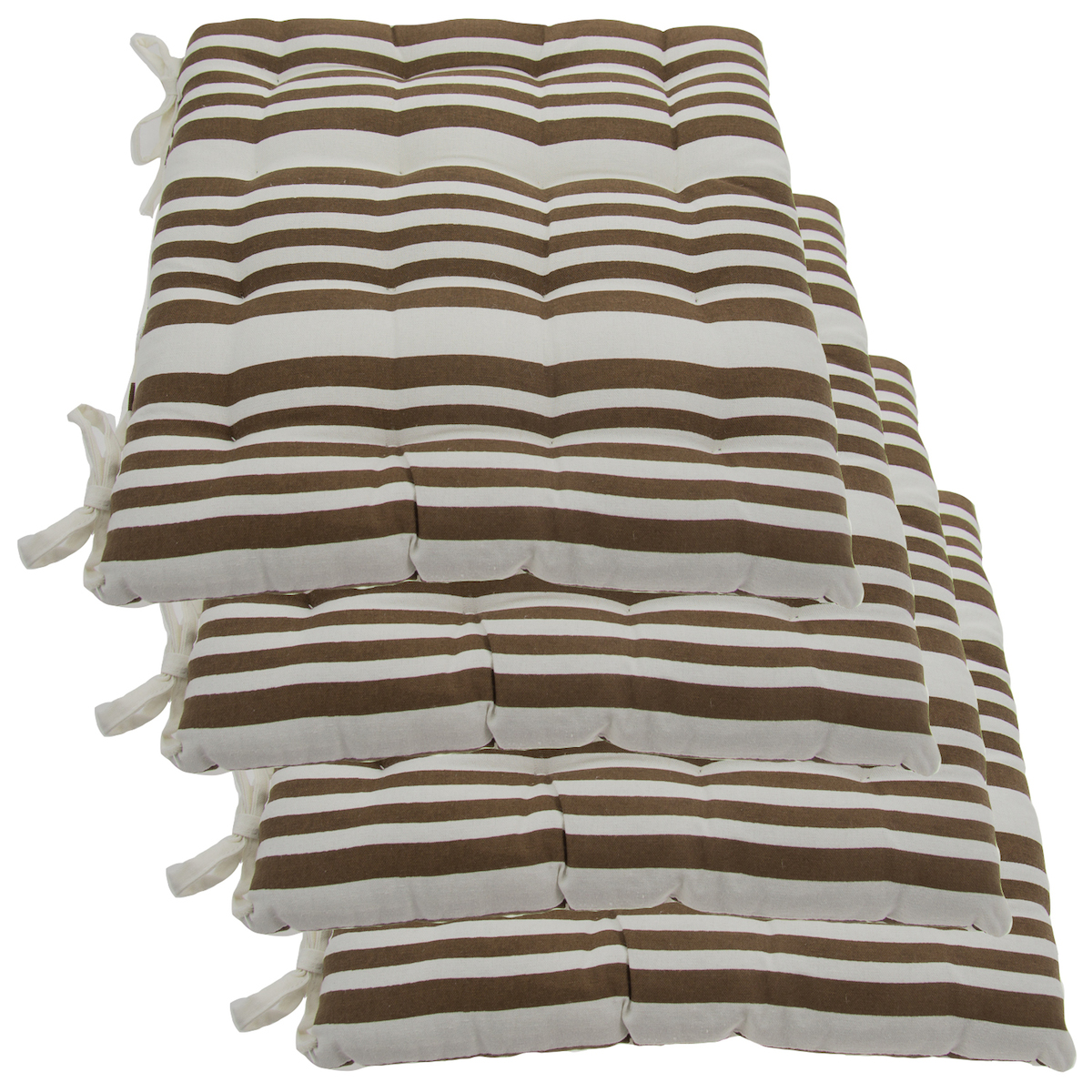 Kitchen Chair Cushion: Set Of 4 Cotton Indoor Reversible Chair Pads & Ties