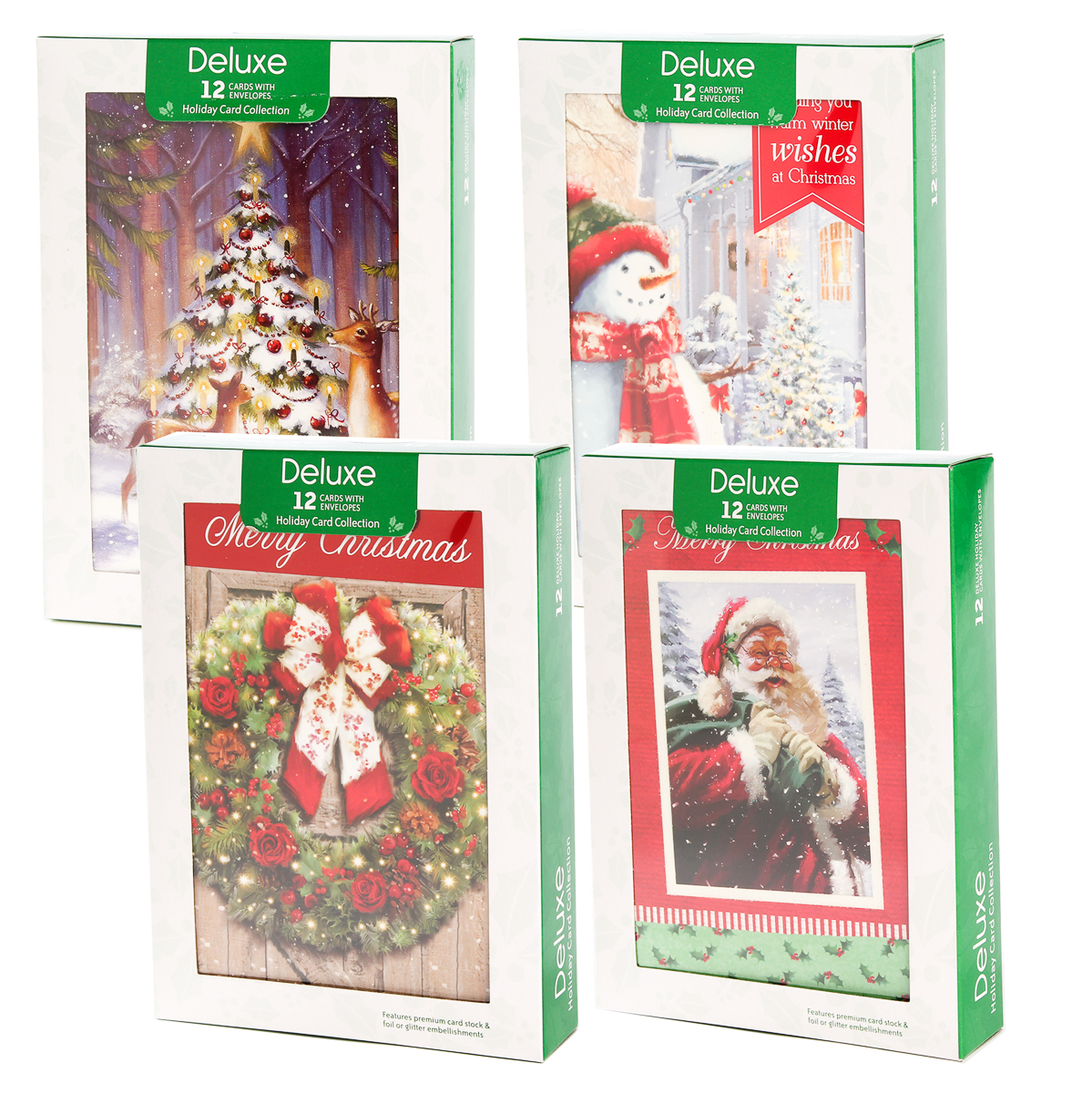 48pk Merry Christmas Cards Bulk Assortment Holiday Card Pack with ...