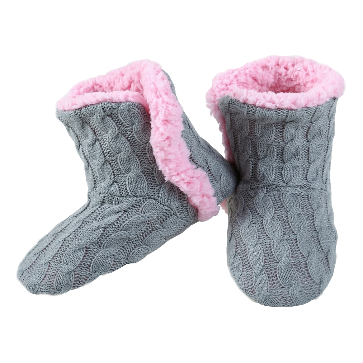Yelete Womens Cable Knit Slippers House Booties Soft Sherpa Lining
