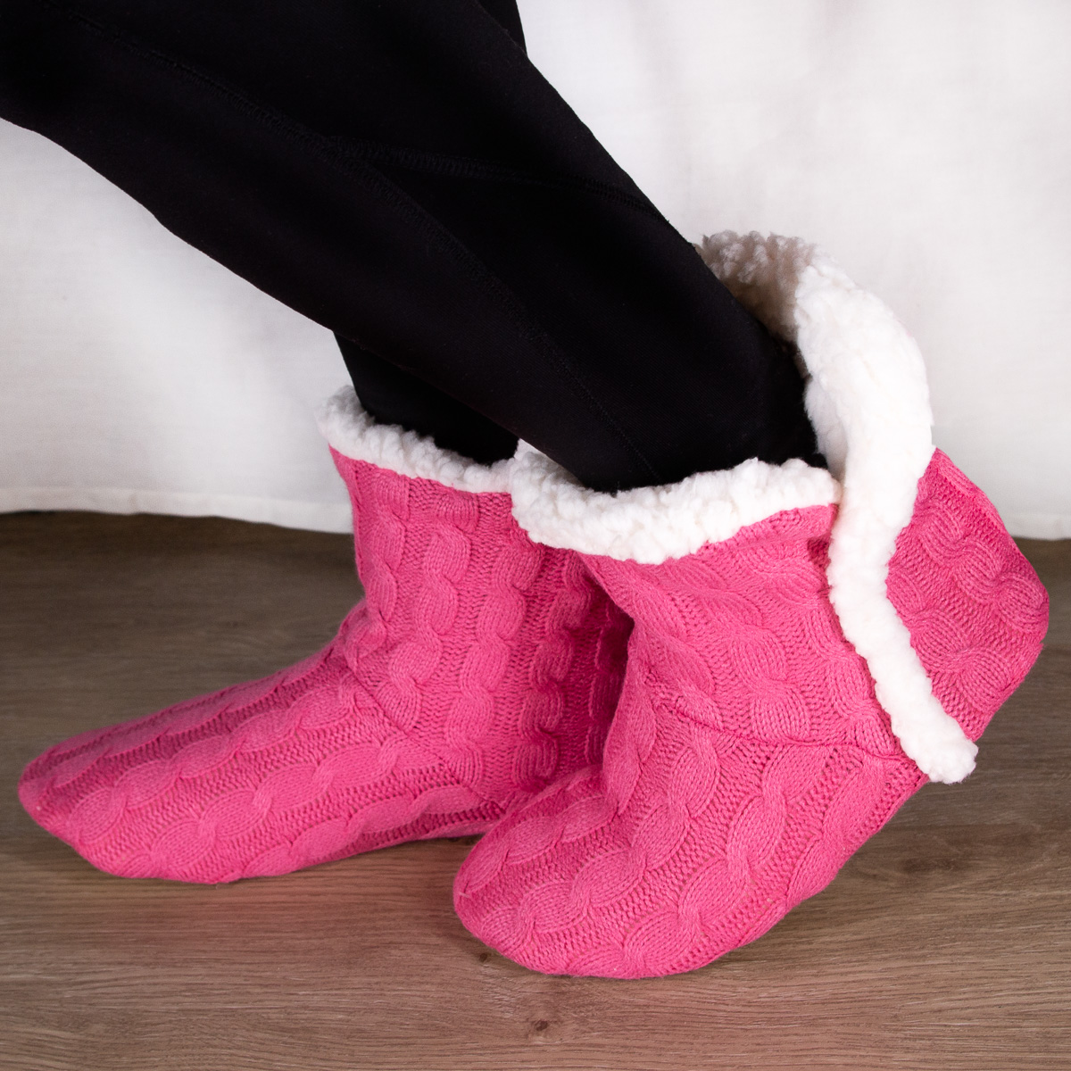 thumbnail 22 - Yelete Women's Cable Knit Slippers House Booties Soft Sherpa Lining Rubber Soles