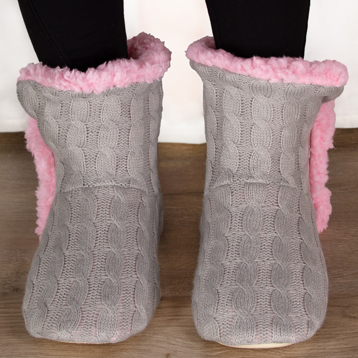 thumbnail 14 - Yelete Women's Cable Knit Slippers House Booties Soft Sherpa Lining Rubber Soles