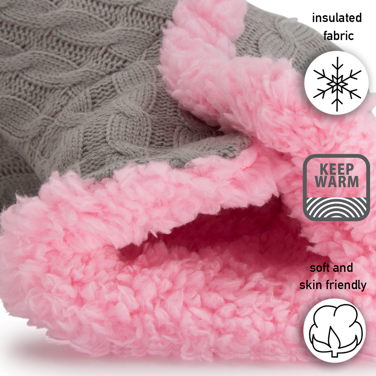 thumbnail 15 - Yelete Women's Cable Knit Slippers House Booties Soft Sherpa Lining Rubber Soles