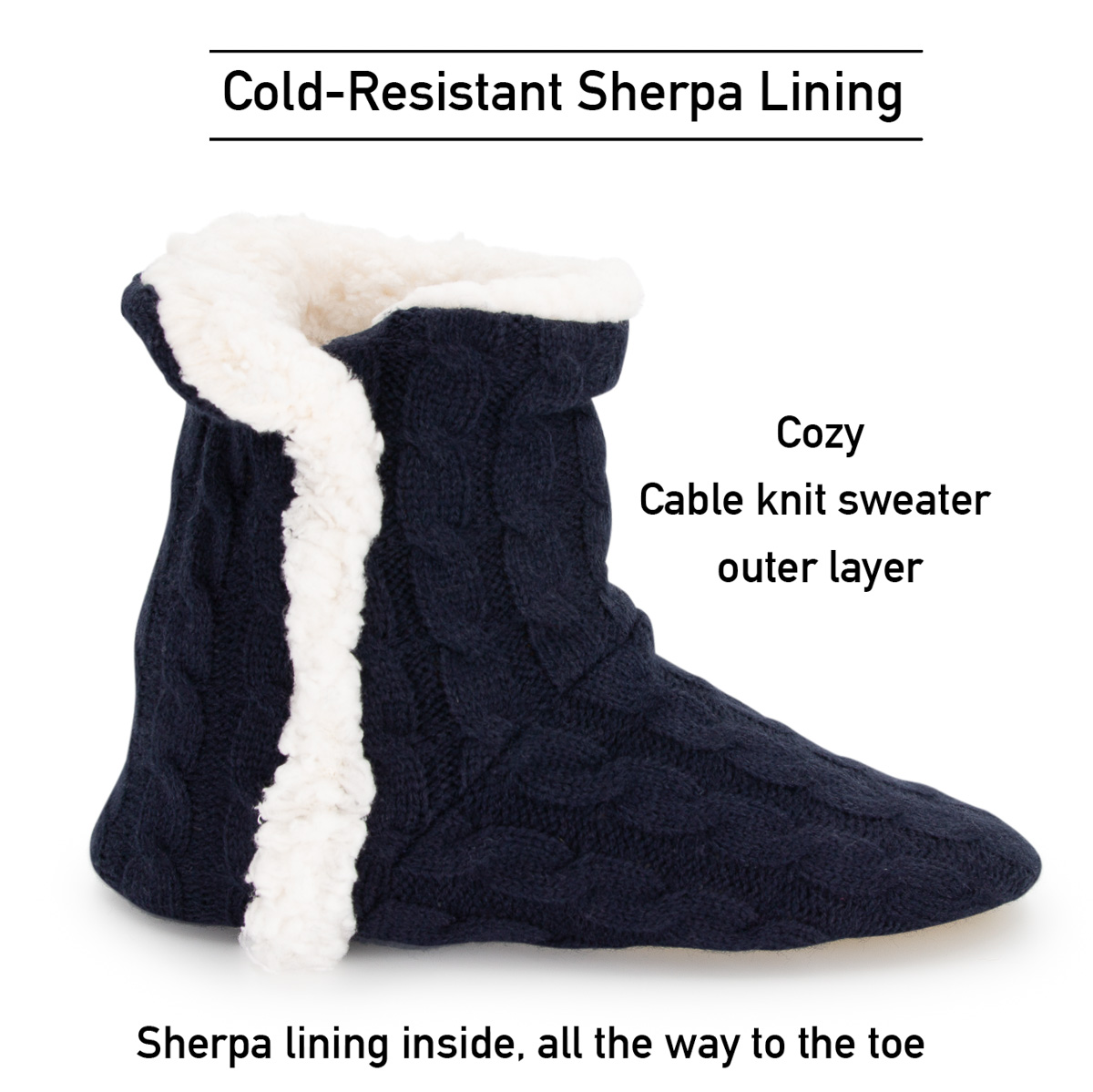 thumbnail 24 - Yelete Women's Cable Knit Slippers House Booties Soft Sherpa Lining Rubber Soles