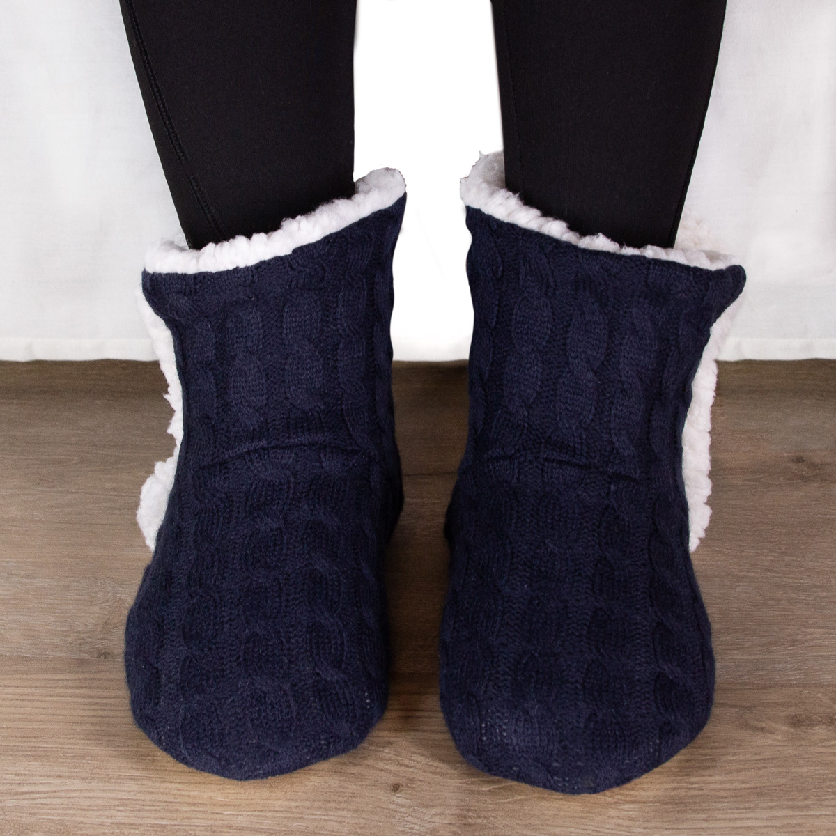 thumbnail 26 - Yelete Women's Cable Knit Slippers House Booties Soft Sherpa Lining Rubber Soles