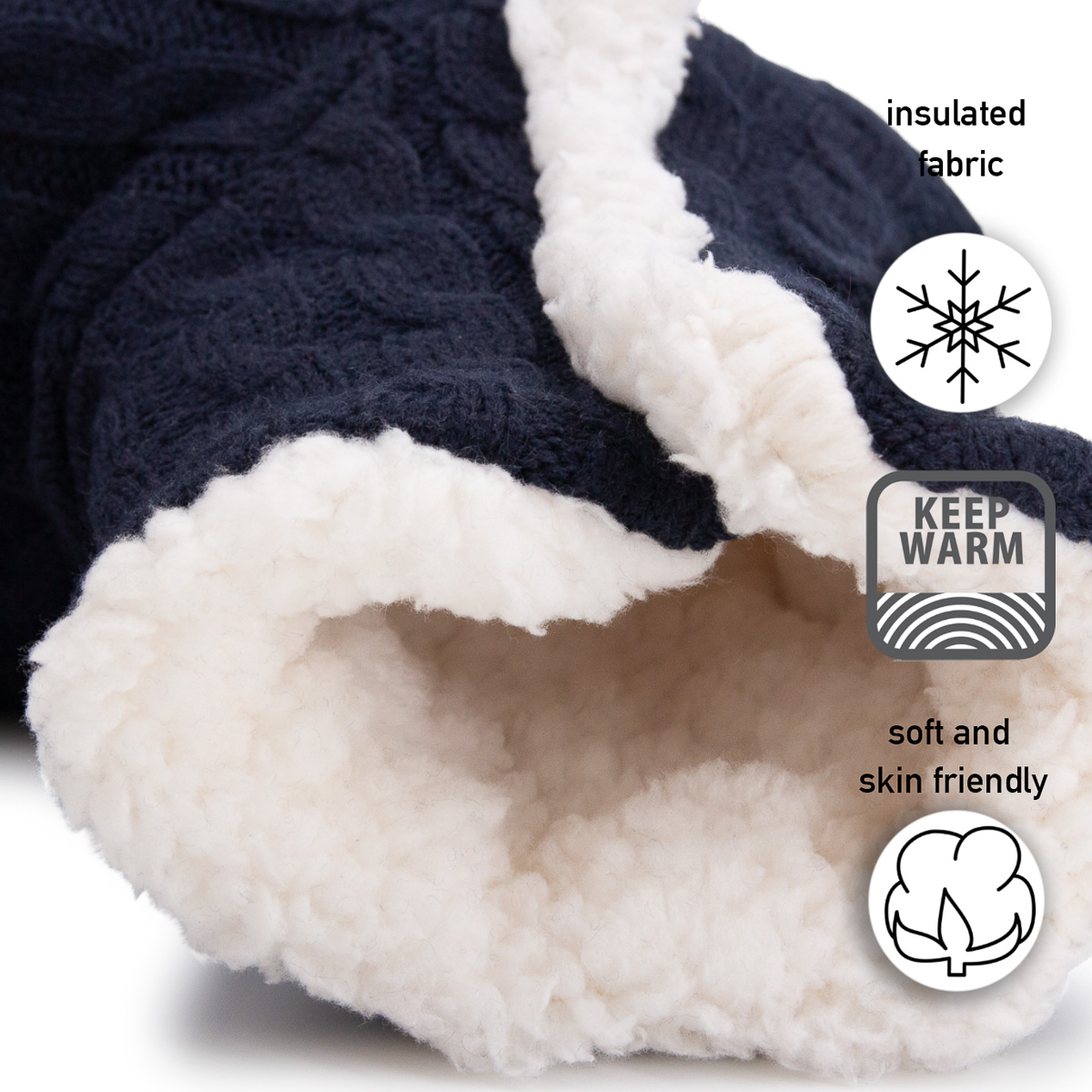 thumbnail 27 - Yelete Women's Cable Knit Slippers House Booties Soft Sherpa Lining Rubber Soles