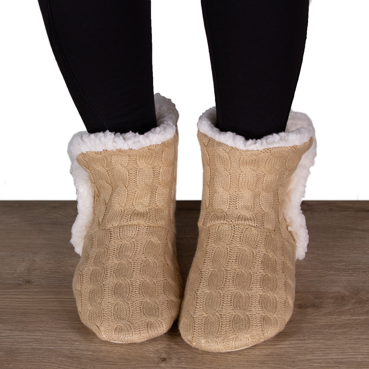 thumbnail 32 - Yelete Women's Cable Knit Slippers House Booties Soft Sherpa Lining Rubber Soles