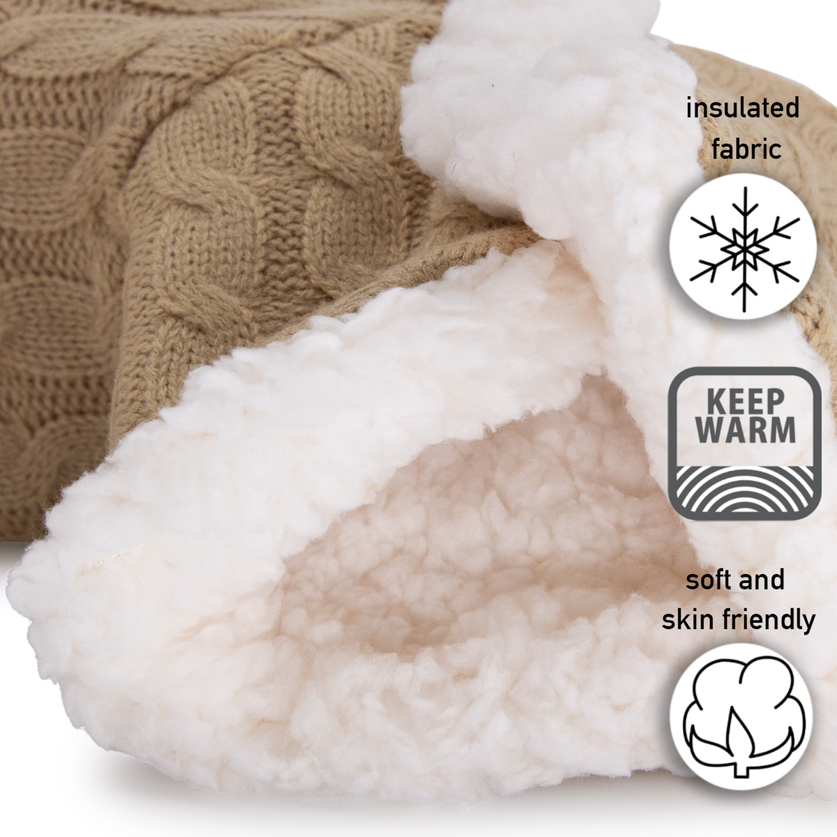 thumbnail 33 - Yelete Women's Cable Knit Slippers House Booties Soft Sherpa Lining Rubber Soles