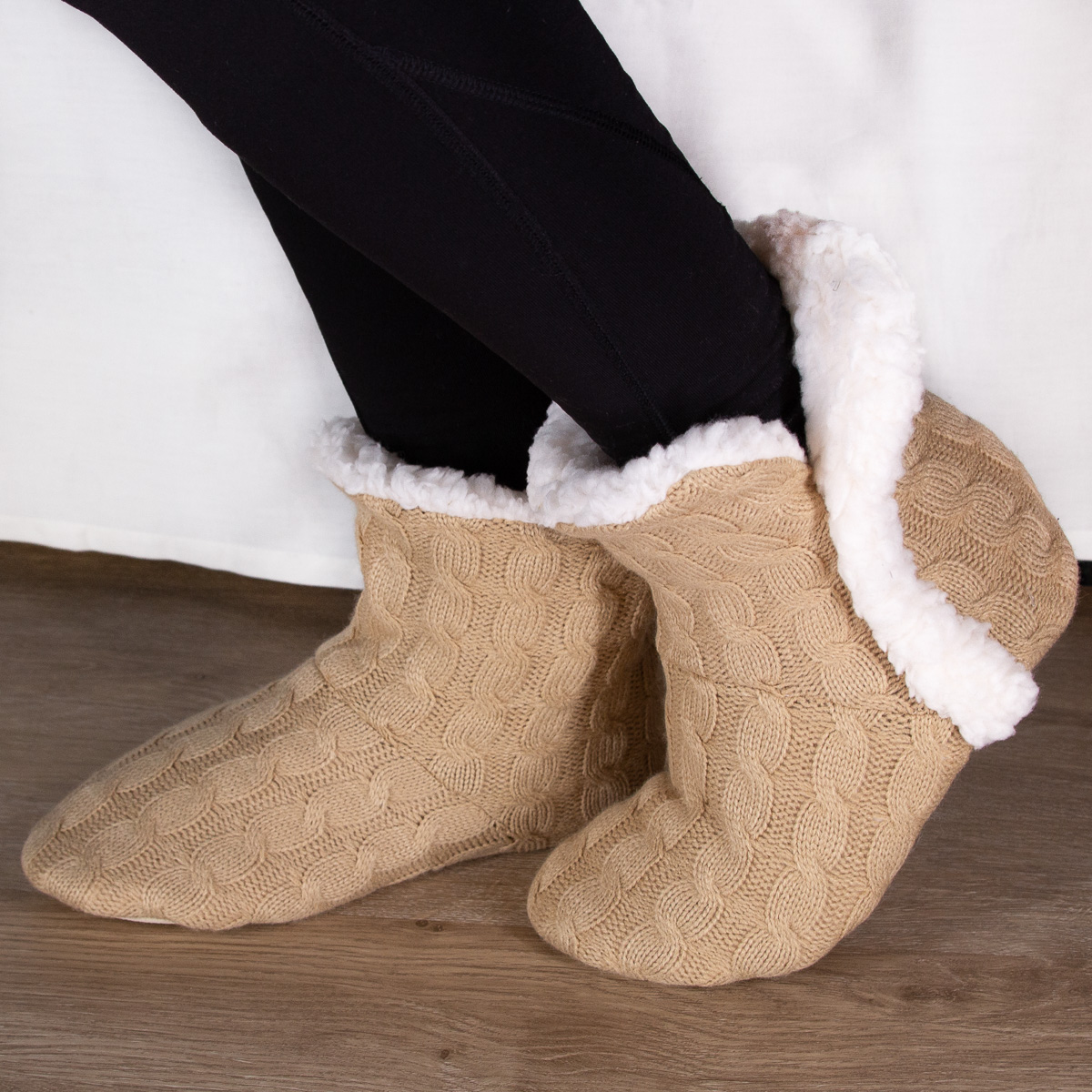 thumbnail 34 - Yelete Women's Cable Knit Slippers House Booties Soft Sherpa Lining Rubber Soles
