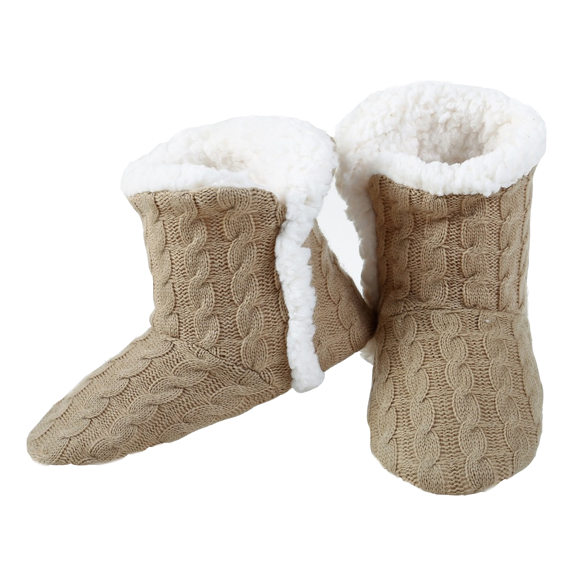 Yelete Womens Cable Knit Slippers House Booties Socks Soft Sherpa