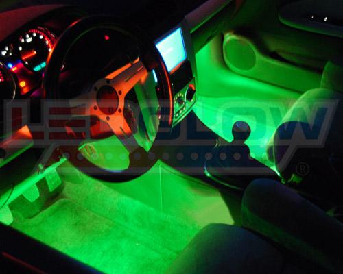 ledglow 4pc green slimline led underglow lights kit w 4pc interior