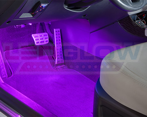 4pc ledglow 7 color led interior kit footwell neon lights kit w music modes. Black Bedroom Furniture Sets. Home Design Ideas