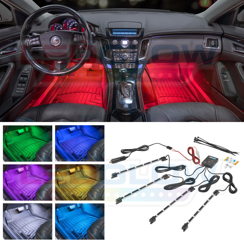 Details About New Ledglow 4pc 7 Color Led Interior Light Kit For All Cars W Accent Neon Glow