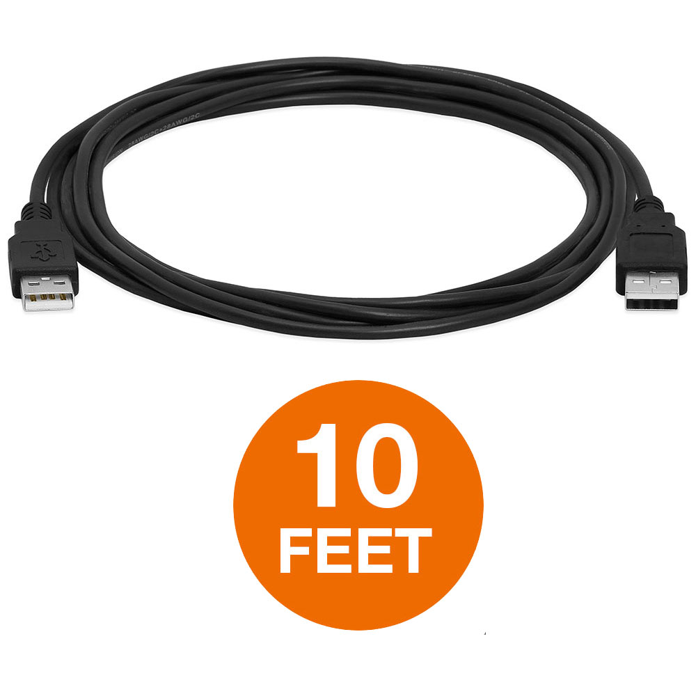 USB High-Speed 2.0 Cable M/M Standard Type A Male to Male Cord Black 10FT