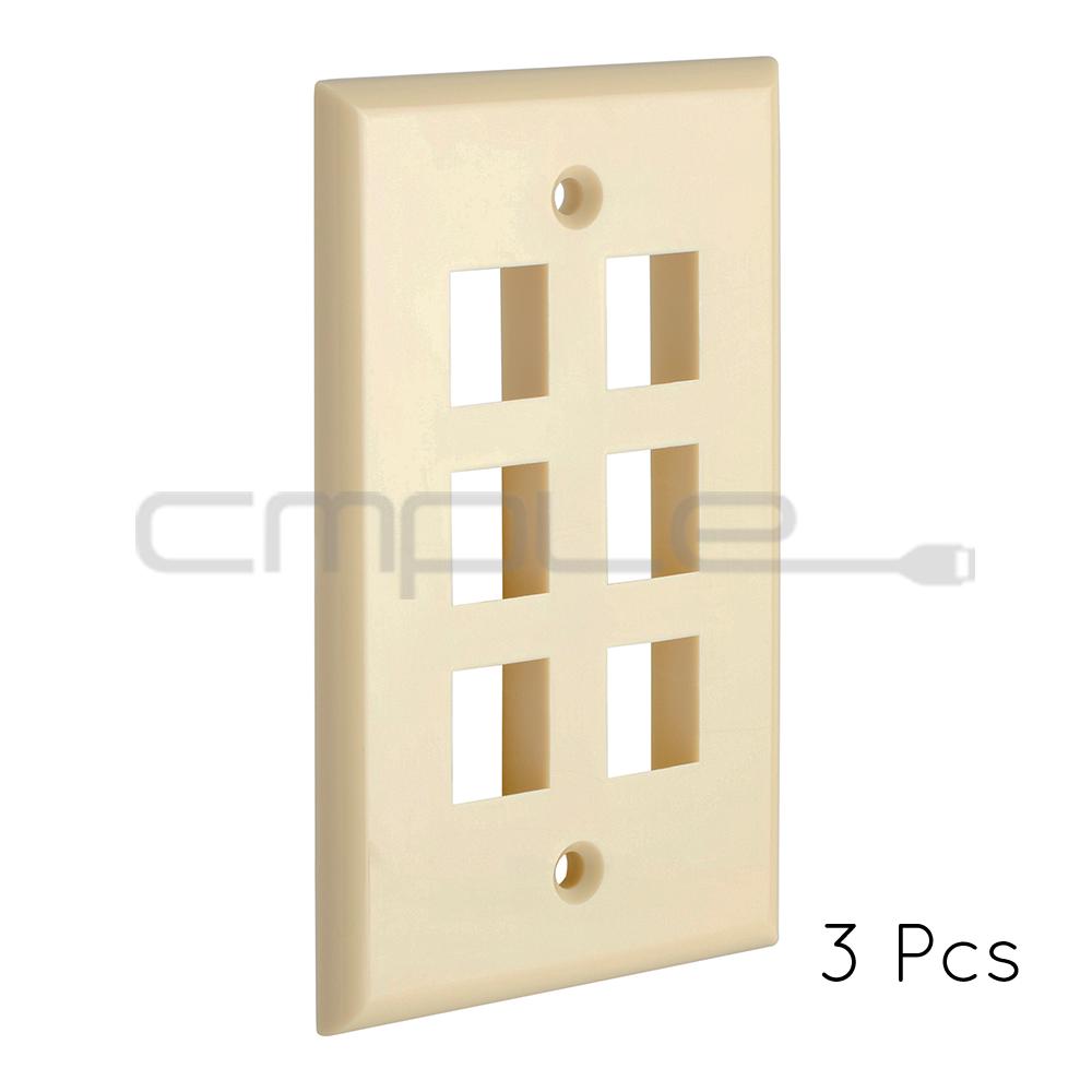 Keystone Wall Plate Beige // Ivory 3 Port Lifetime Warranty