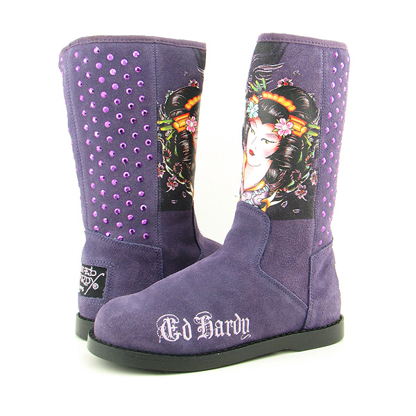 ED HARDY Bootstrap Boots Winter Shoes Purple Womens
