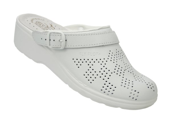 eb7ef2a03aa Details about FLY FLOT Daisy White Clogs Mules Shoes Womens Size 6