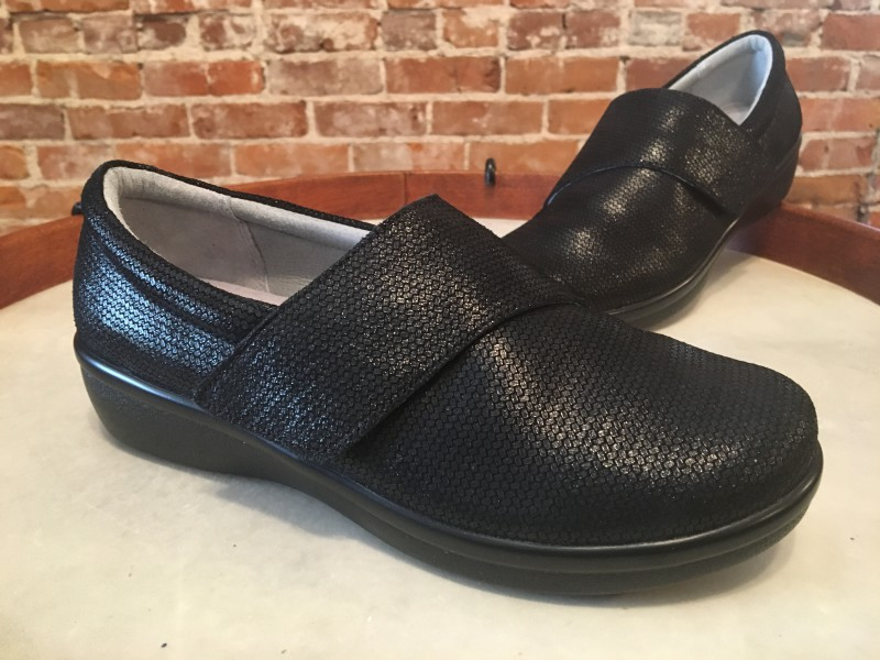 Alegria Black Weave Leather Lauryn Cross Strap Slip on Comfort shoes 38 8-8.5 NEW