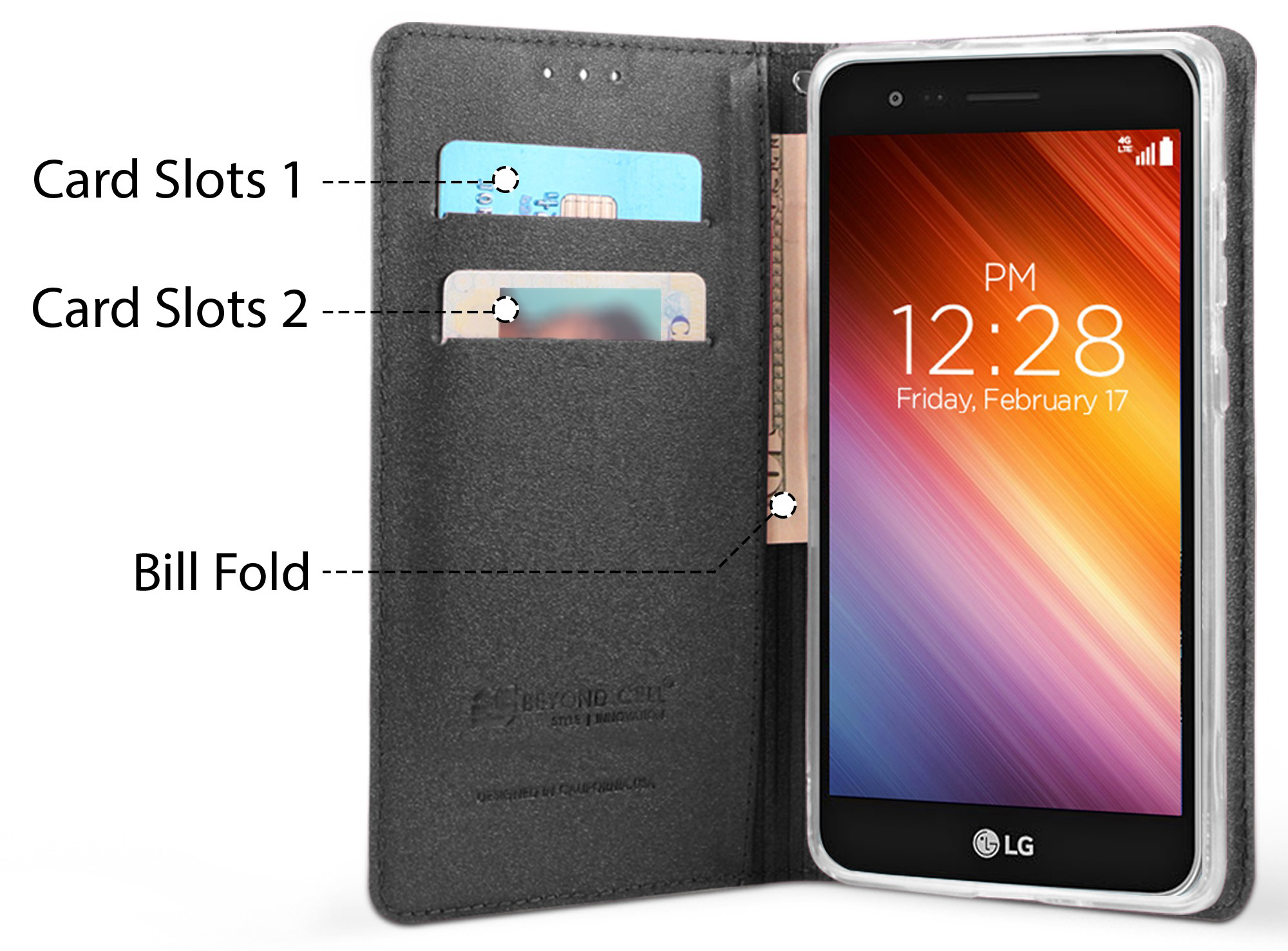 Details about WALLET CREDIT CARD SLOT CASE + WRIST STRAP for LG Zone 4,  Risio 2/3, Rebel 2/3