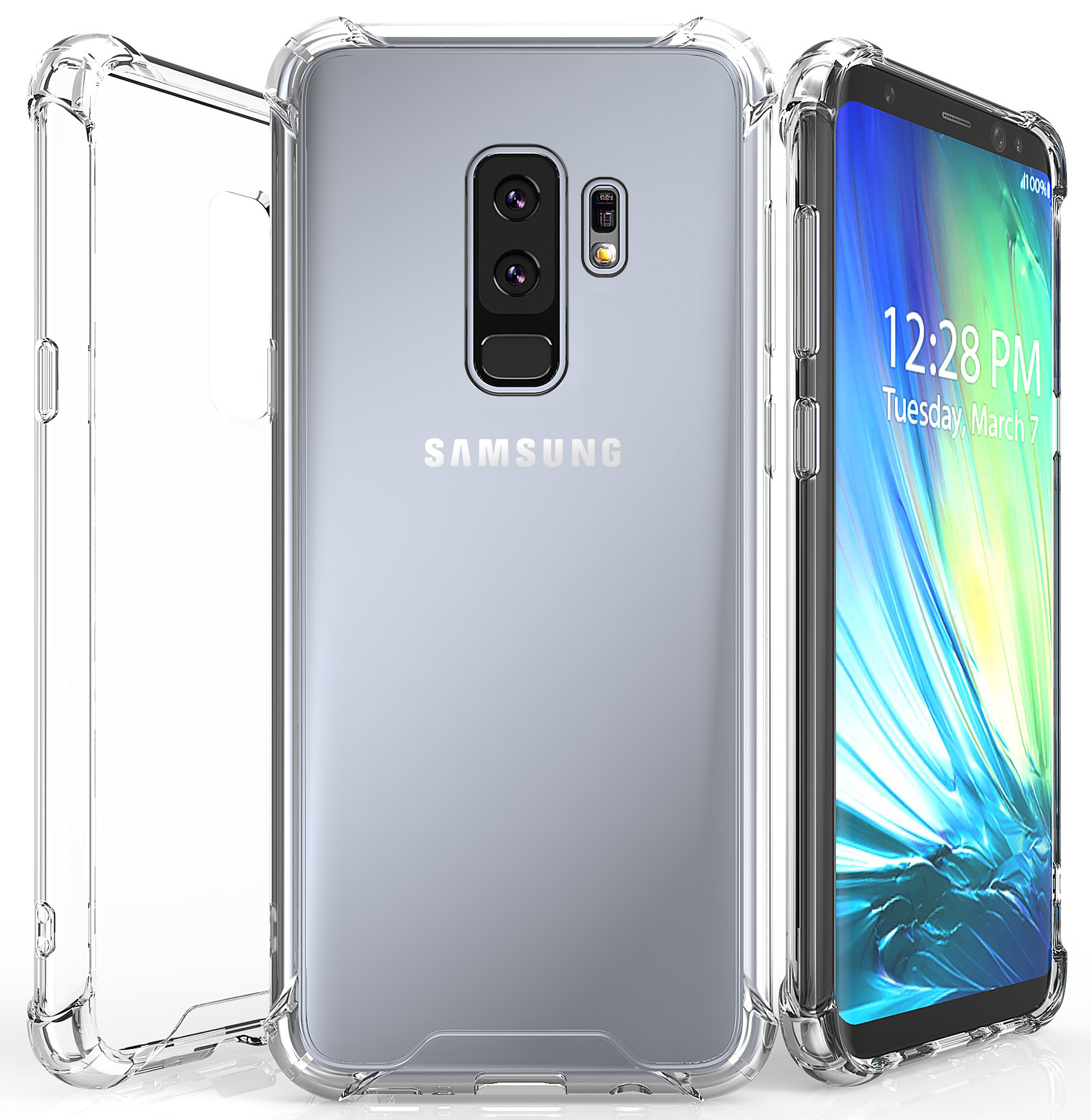 buy popular e6bb6 1cae5 Details about AQUAFLEX ANTI-SHOCK CLEAR CASE COVER HARD COVER FOR SAMSUNG  GALAXY S9 PLUS, S9+